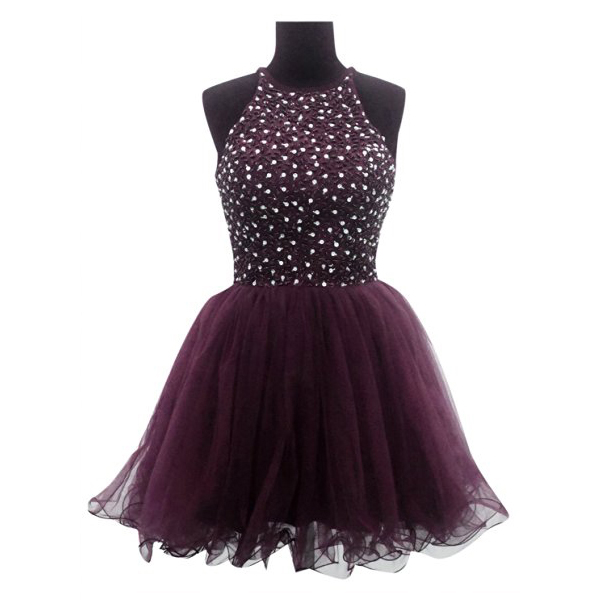 54e0bef2030 Organza Homecoming Dress with Beads and Sequins