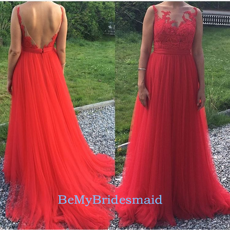 Beautiful Red Tulle Long Prom Dresses, Red Prom Dresses, Party Gowns ...