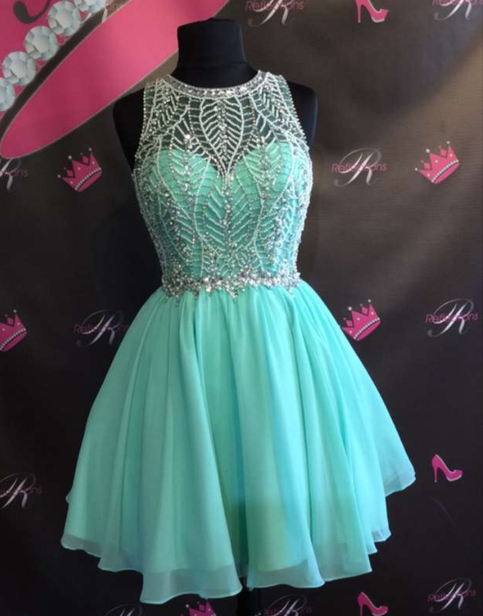 A Line Beading Short Homecoming Dress Short Prom Dresses