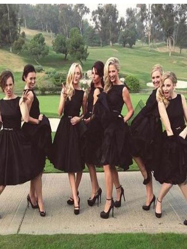Short Black Bridesmaid Dresses | Short Black Bridesmaid Dress A Line Bridesmaid Dress Chiffon