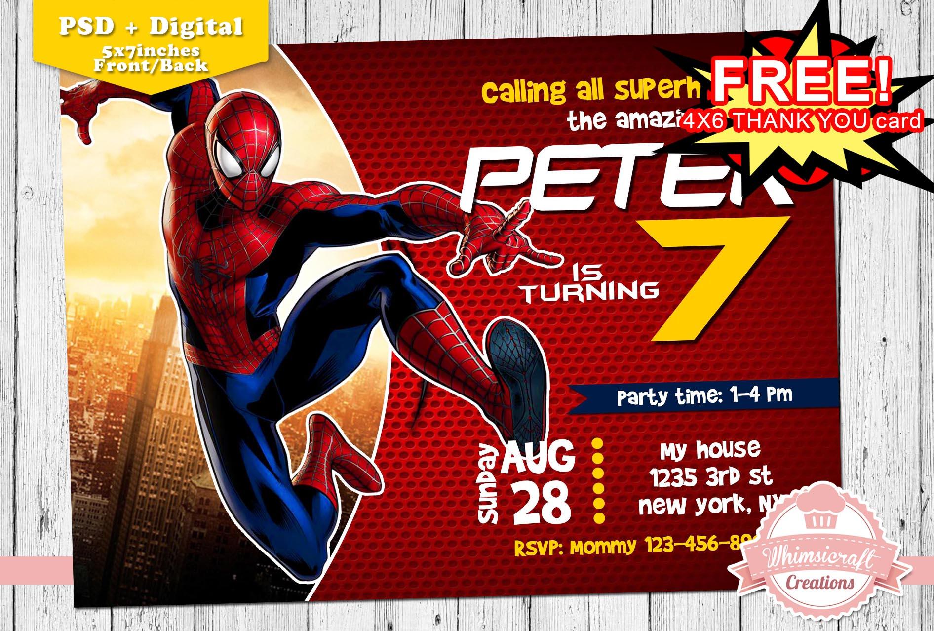 Spiderman 20birthday 20invitation Original