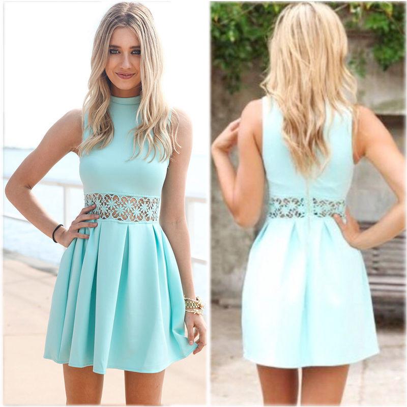 3fc861df80b ... blue Sleeveless Turtleneck Lace Stitching Mint women dress Party summer  dress Casual Slim vestidos de festa