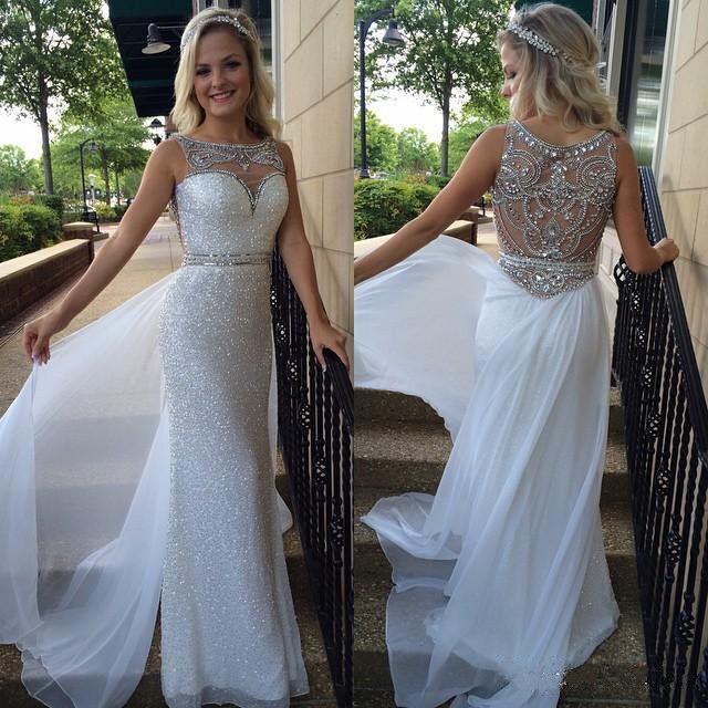 c08a3b886f61 White prom dress,Chiffon A-line Sheath Column Scoop Floor-length Evening  Dress
