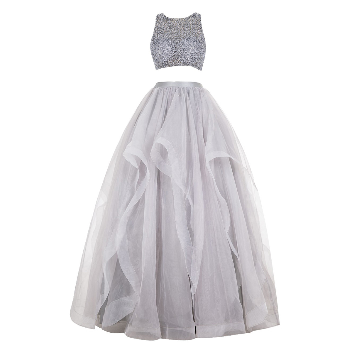 Scoop Neck Gray Ball Gowns, Floor-length Organza Prom Dresses with ...
