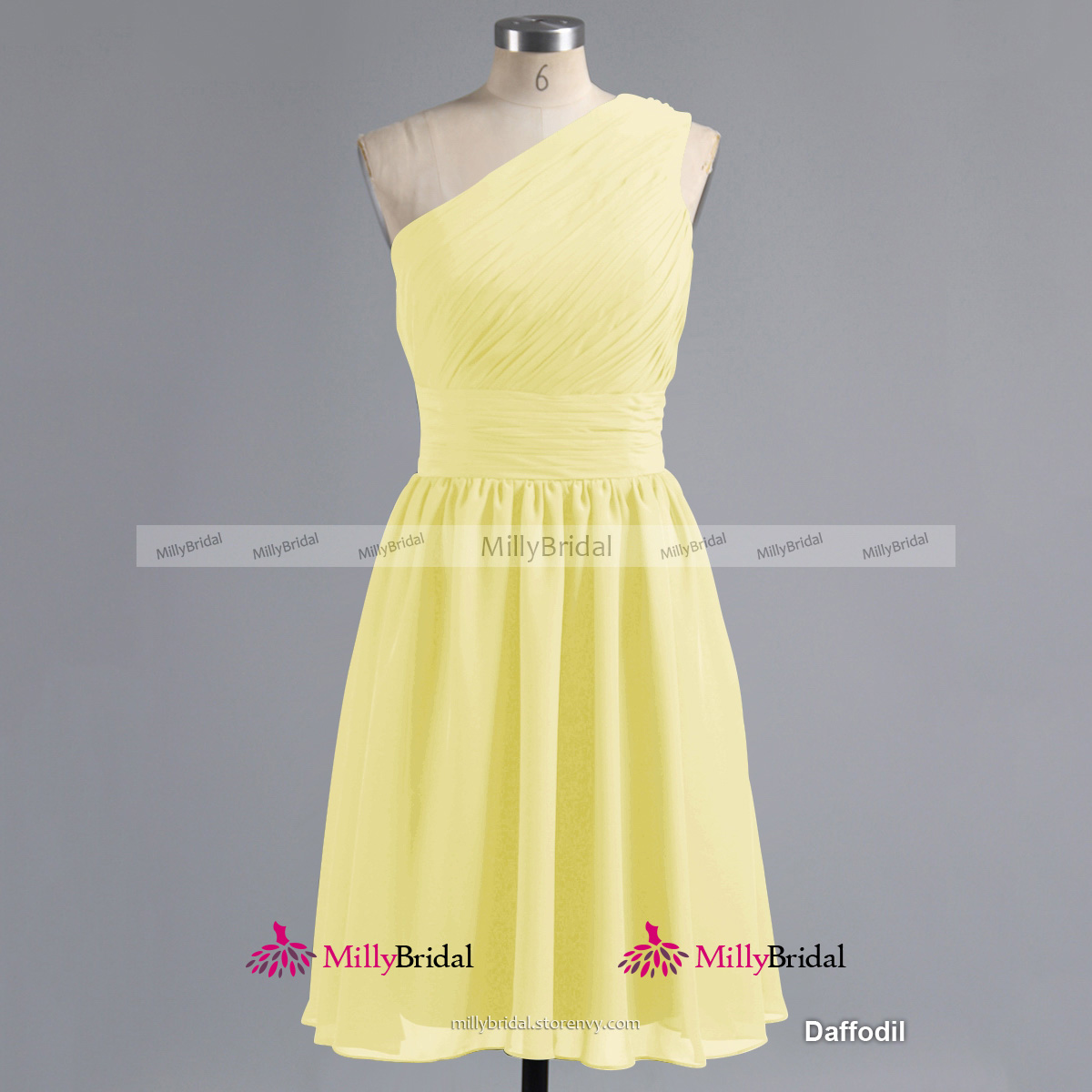 Sage One Shoulder Bridesmaid Dresses, Chiffon Knee-length