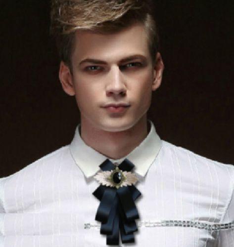 0b28d3340e76 Vintage Style Black Ribbon Wedding Men Pre Tied Lace Bow Tie Brooch ...
