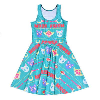 d1a7dd00fa3 Xs s m l xl blue-green pink yellow sailor moon prism power wand cat print  sleeveless