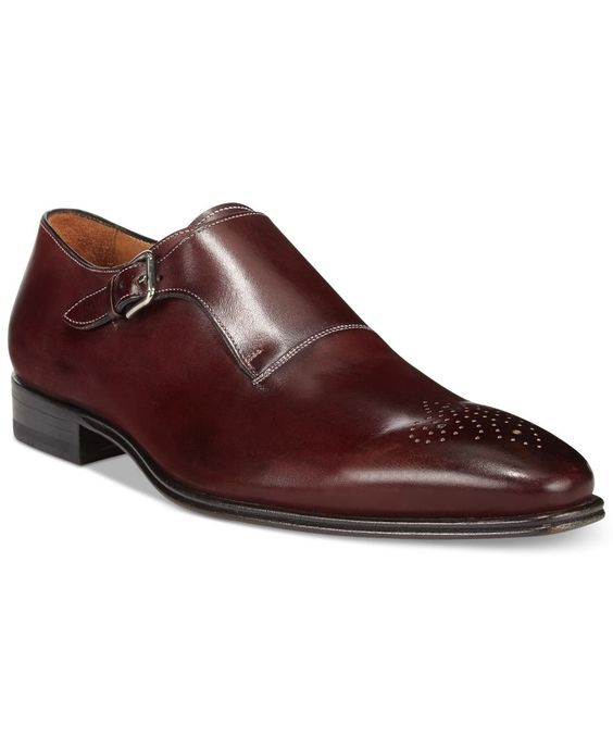Handmade Men Formal Shoes Mens Maroon Color Monk Shoes Men Dress
