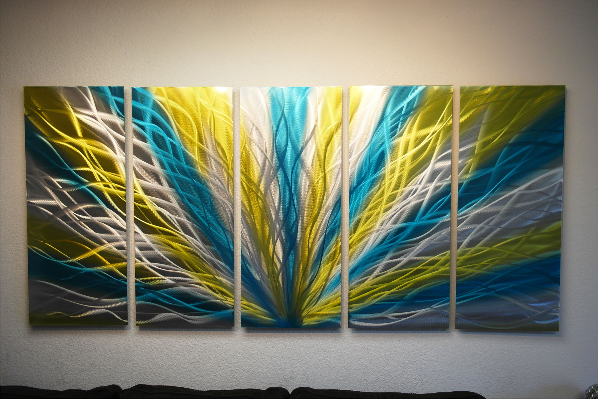 Radiance Blue Yellow 36x79 - Metal Wall Art Abstract ...