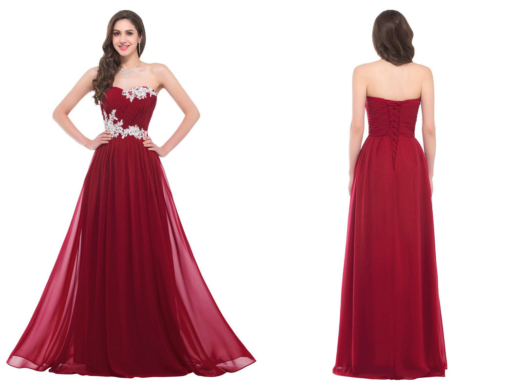 Floor length chiffon evening dresses prom gowns with applique