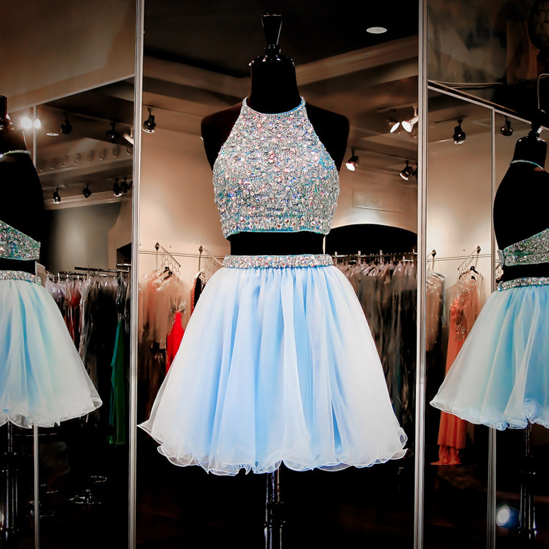a1e67455bec Jewel Neck Light Blue Open Back Short Prom Dress