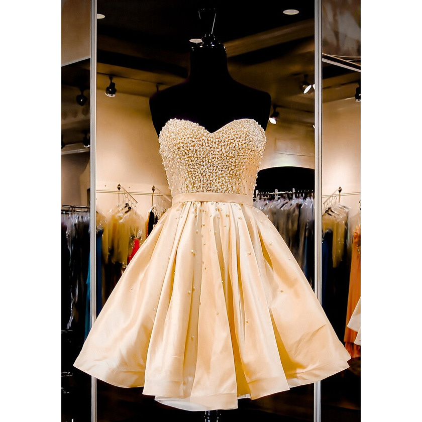 35c4f9421ca3 Sweet Princess Yellow Satin Prom Dress with Pleats, Sweetheart Empire Pearl  Sash Short Prom Dress, Cute Sleeveless Lace-up Mini Prom Dress, #020102464  on ...