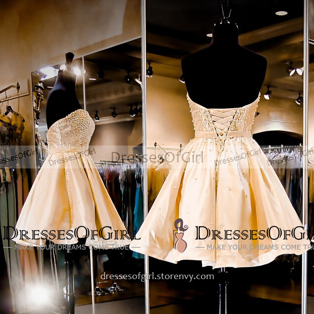 673c196db491 Sweet Princess Yellow Satin Prom Dress with Pleats, Sweetheart Empire Pearl  Sash Short Prom Dress ...