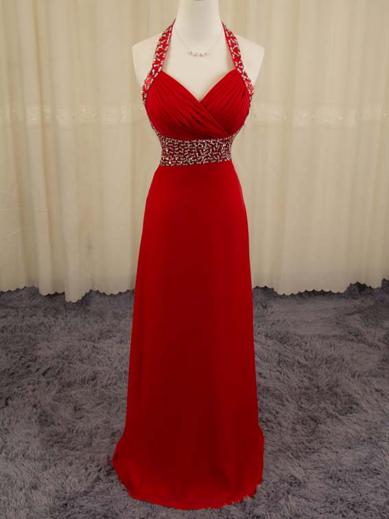 06a13627596f Red Prom Dress Halter Neckline (49982204 bbpromdress) photo