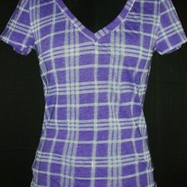 Purple Plaid Short Sleeve V neck, Size Small