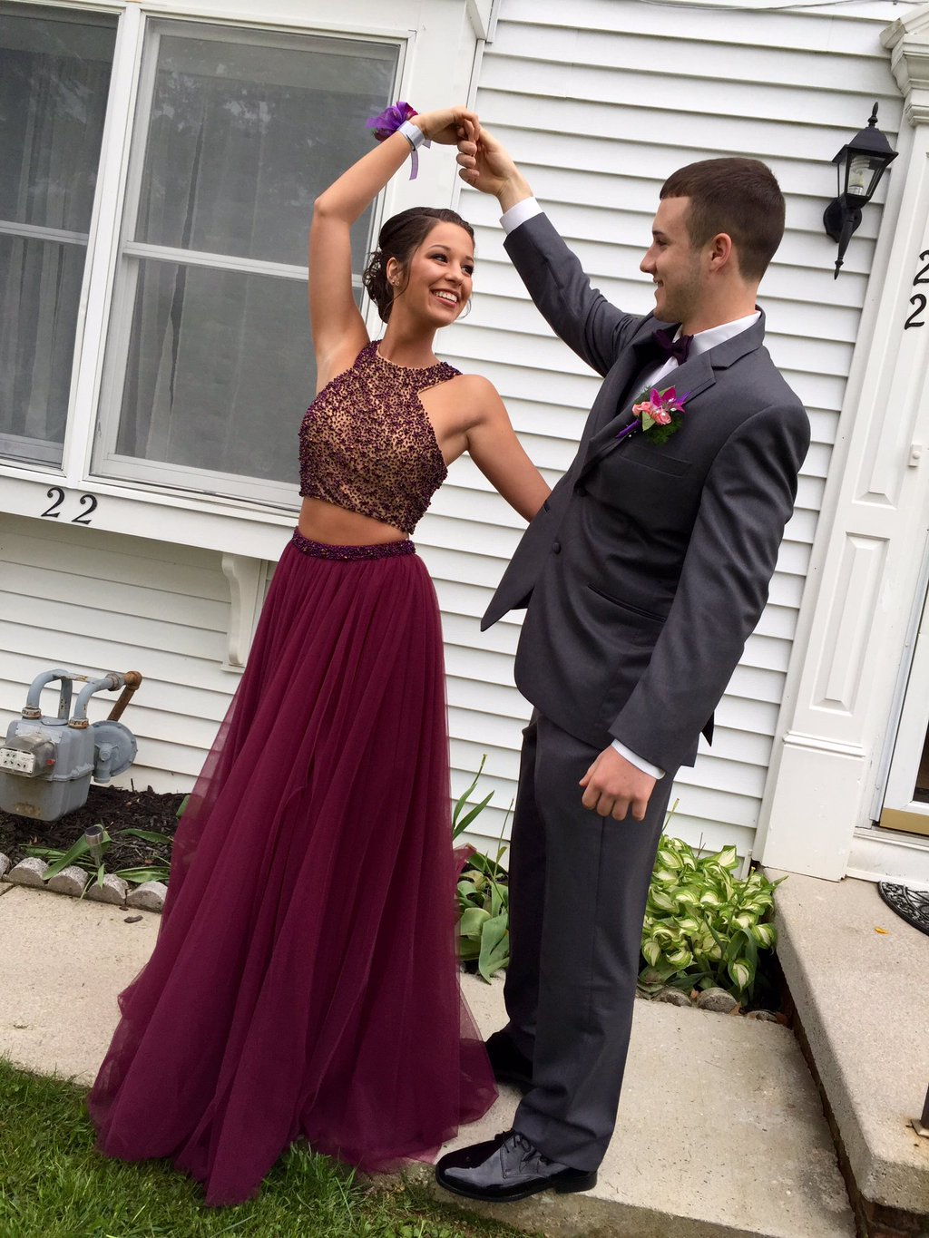 Stylish burgundy two pieces prom dress,A-line beading long prom ...