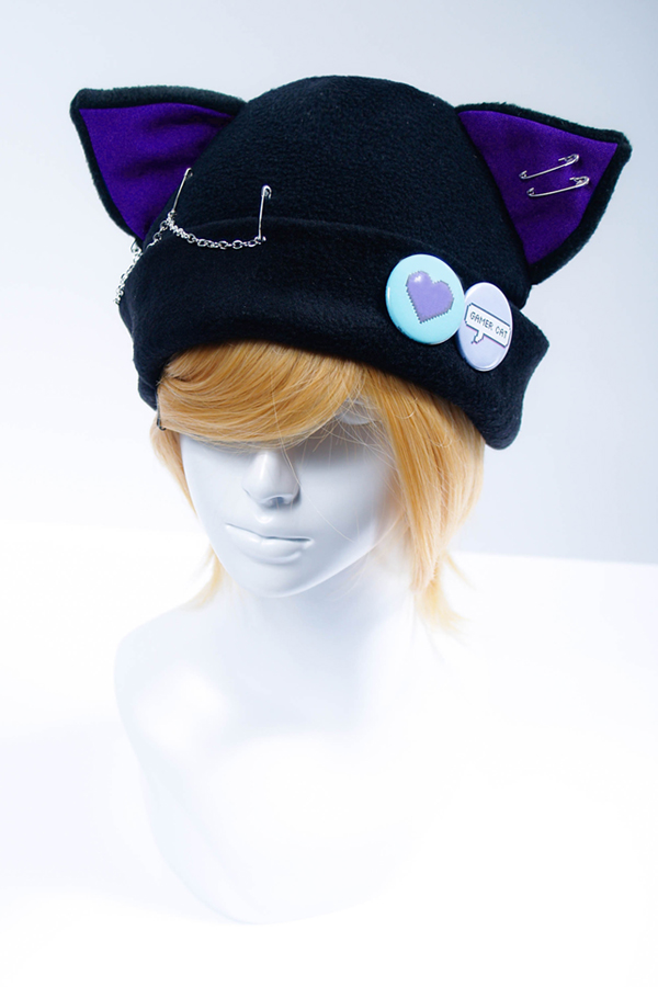 a75479632ec7e Pixel Love Gamer Cat Fleece Hat - Purple on Storenvy