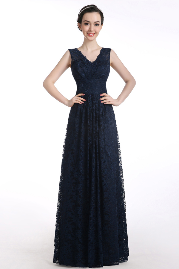 Elegant Navy Blue Lace Prom Dress High Quality Cheap Wedding Guest Dress Fs8363 From Romanticdress