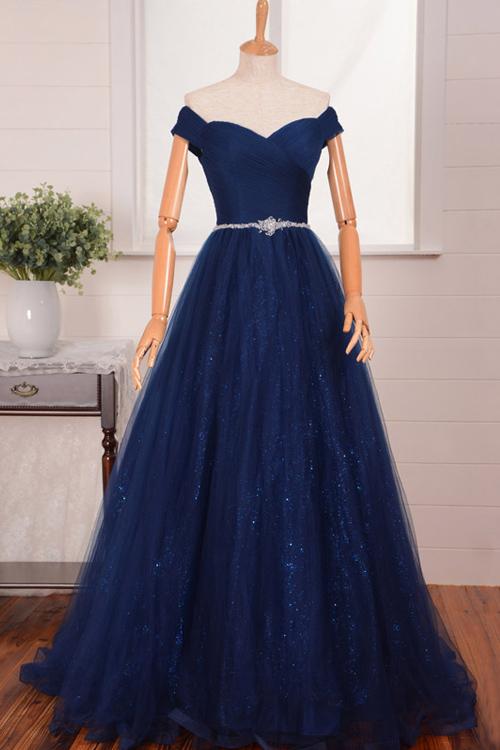 9c6ddd0b8f1 Vintage A-line Tulle Off Shoulder Prom Gown