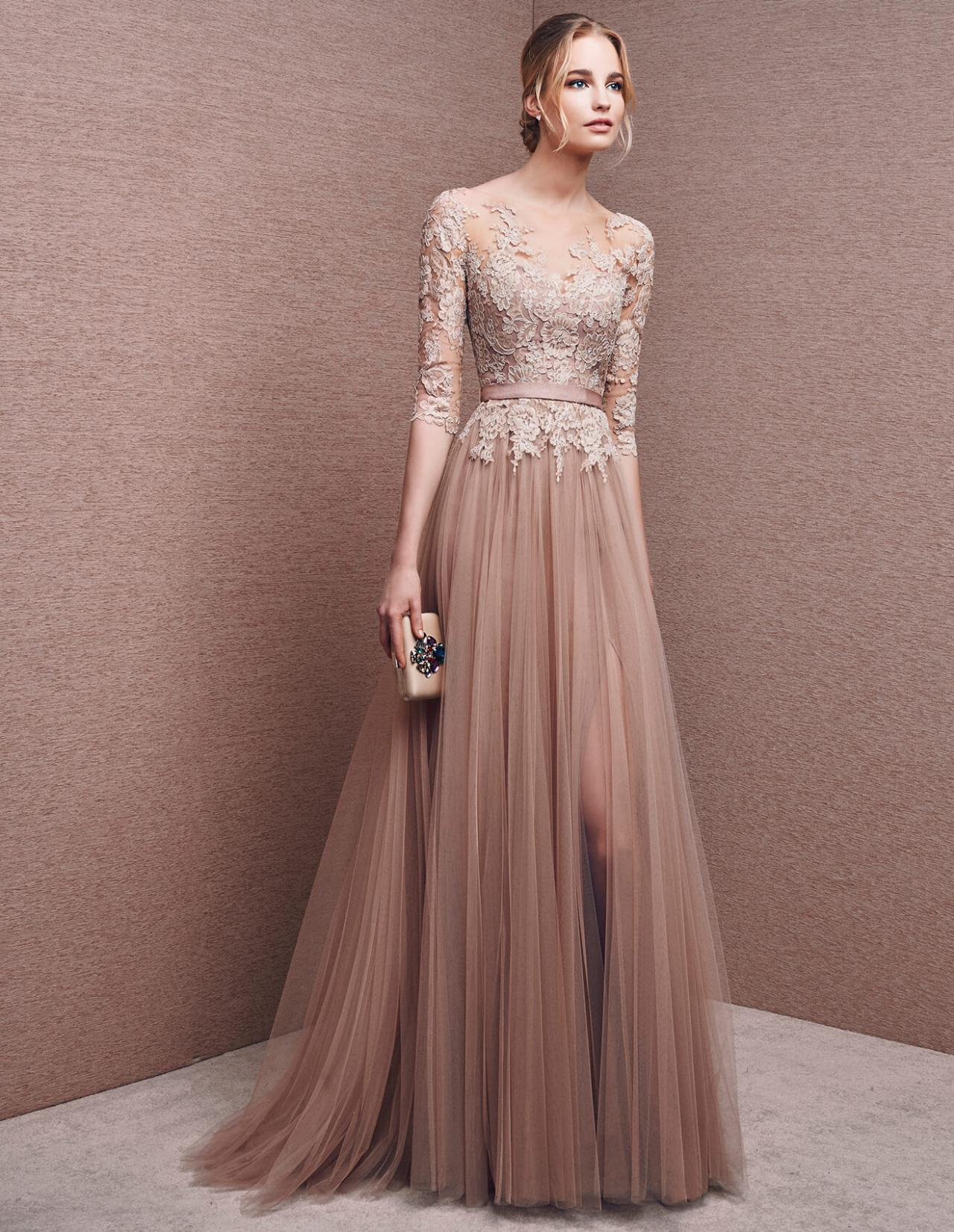 High Quality 3/4 Sleeves lace top Formal Evening Dresses Long Prom ...