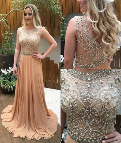 bfc915f2cee Champagne A-line beading long prom dresses