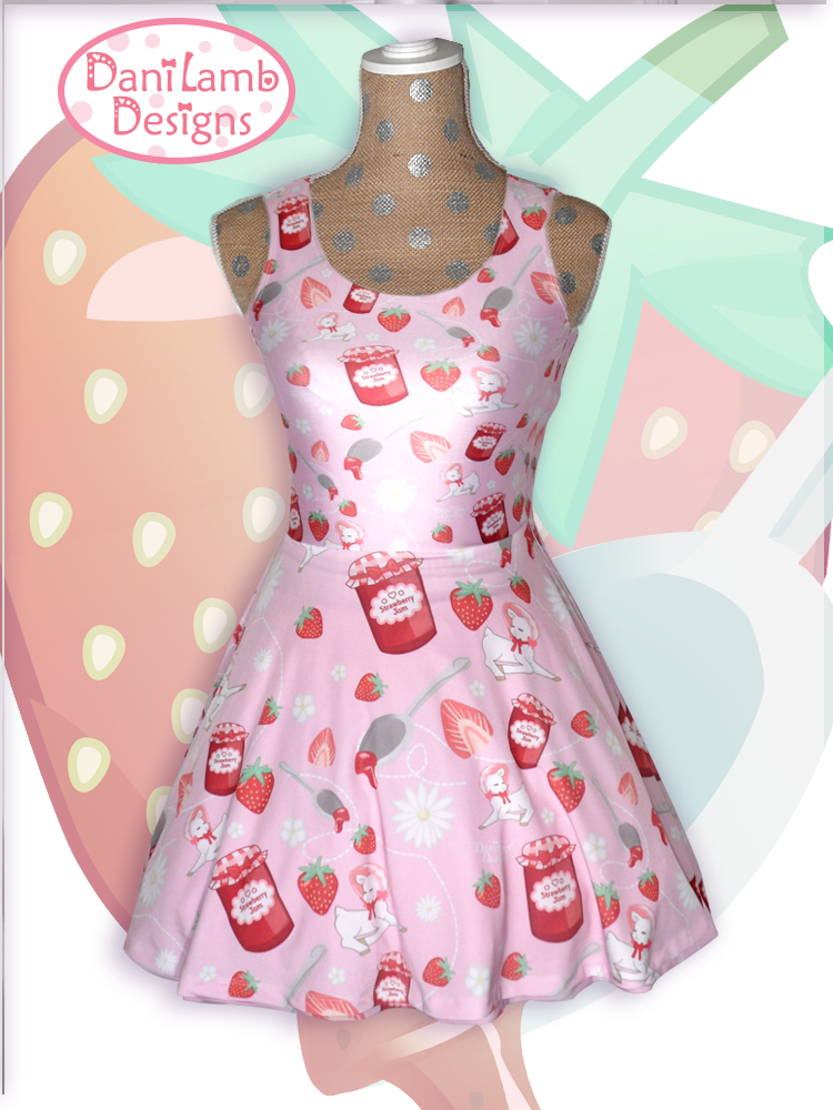 613fb9d7ac4 Kawaii Strawberry Dress Fairy Kei Strawberry Jam Lamb Daisies ...