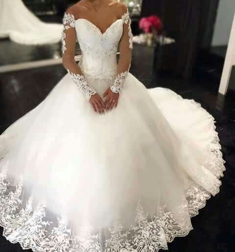 A255 Off The Shoulder Lace Long Sleeve Wedding Dress Chapel Train Princess Long Wedding Dresses Ball Gown Wedding Dresses Miss Lady Online Store Powered By Storenvy,Wedding Dresses With Sleeves And Pockets