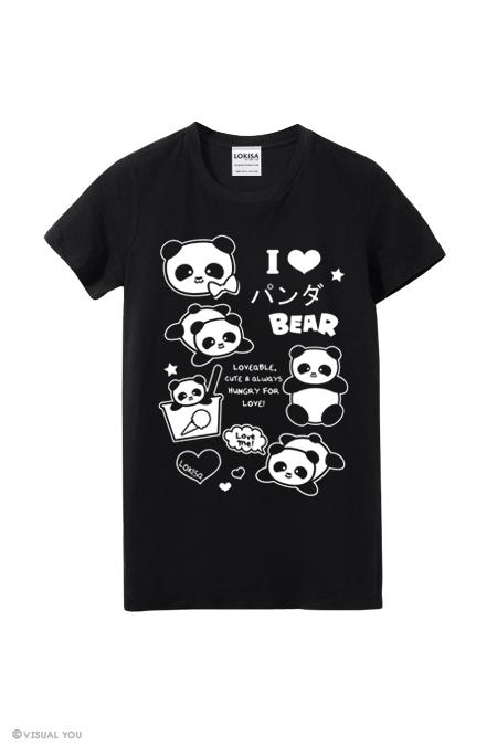 I Love Panda Bear Ponya T Shirt Black On Storenvy