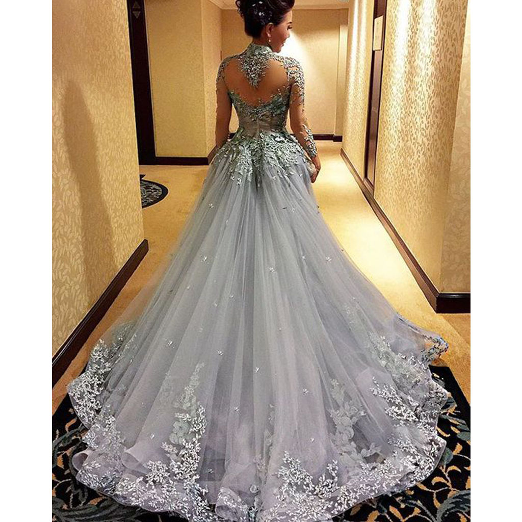 Grey Gowns Wedding: Gorgeous Prom Dress, Long Sleeve Prom Dress, Grey Prom