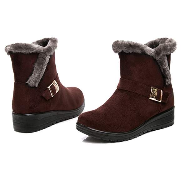 df1f91f6500f8 Brown Women Winter Snow Boots Round Toe Flat Boots Cotton Ankle Boots -  Thumbnail 1 ...