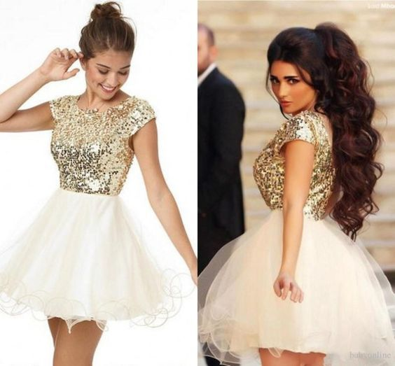 58c3990a9d Gold Sequin Lace Bodice Organza Short Sleeve Homecoming Dresses Charming  Short Prom Dress