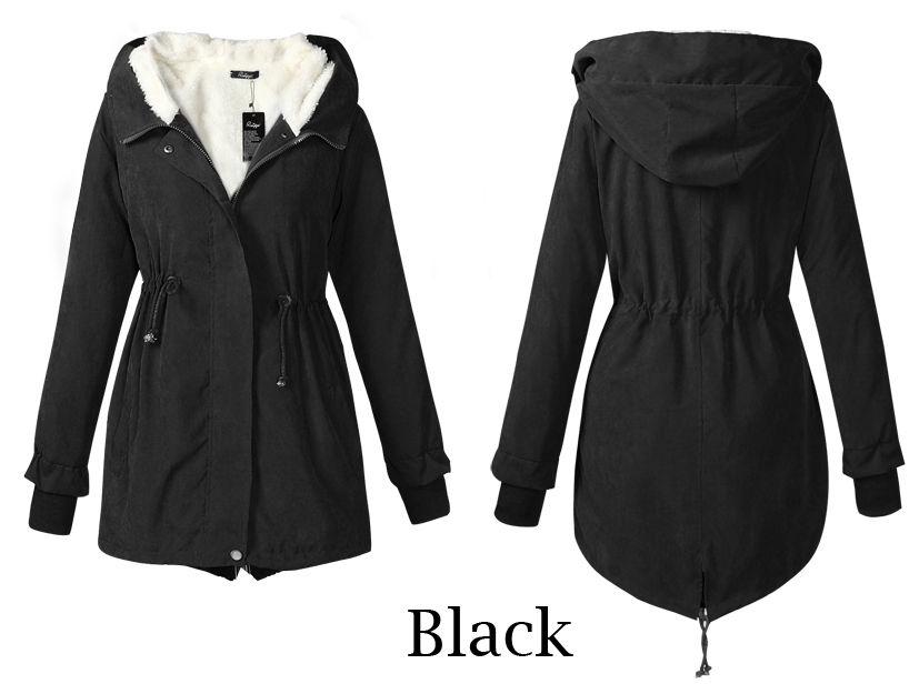 Ladies Hooded Parka Fleece Winter Warm Womens Long Jacket Coat