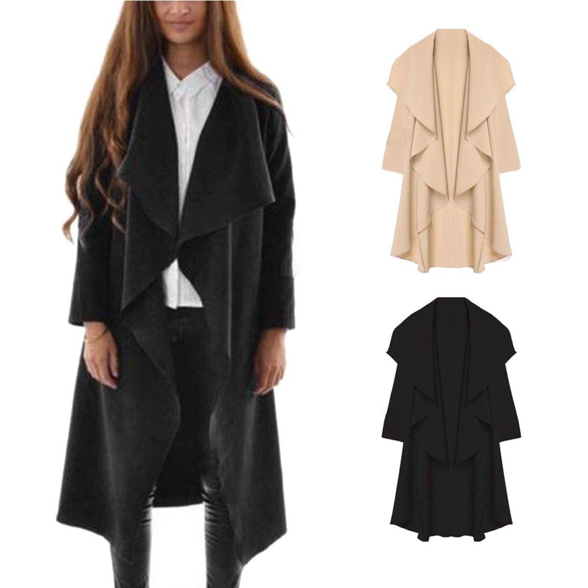 Fashion Womens Slim Long Coat Jacket Trench Windbreaker Parka Outwear Cardigan