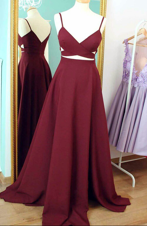 Burgundy 2 pieces prom dresses , evening dress