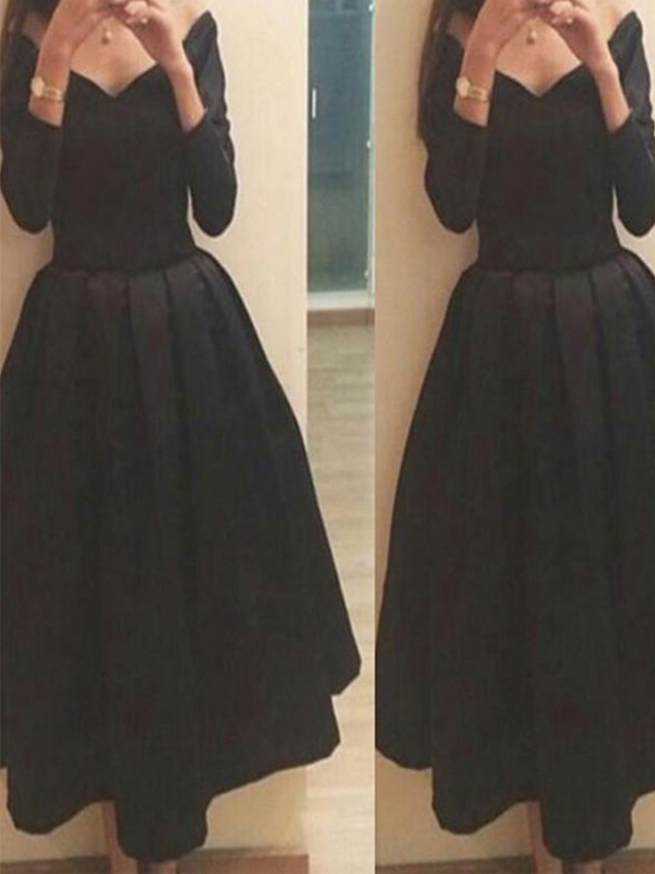 Long Sleeve Black Homecoming Dresses Simple Homecoming