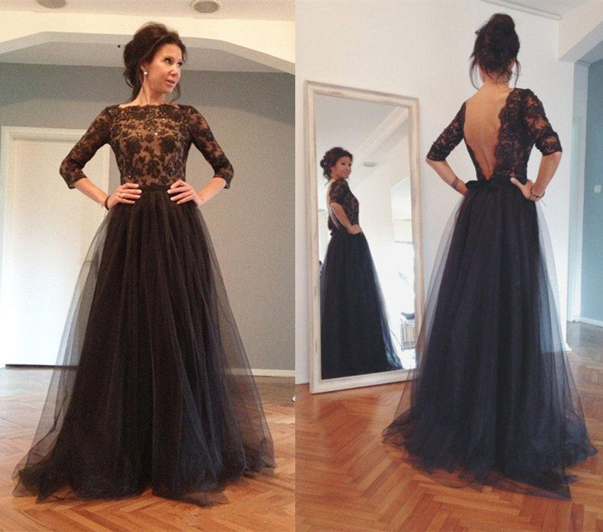 Long Prom Dress,Evening Prom Dress , Black Prom Dress,Long Sleeve ...