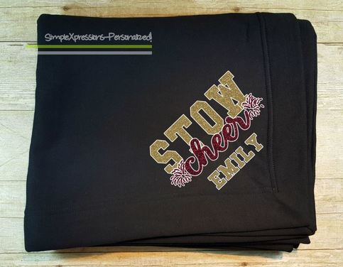 Custom Cheer Stadium Blanket With Glitter