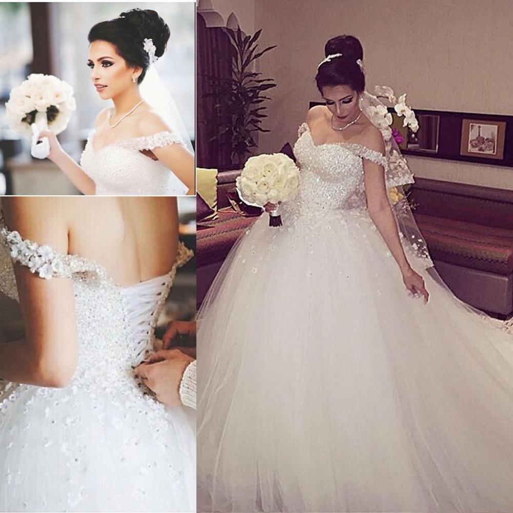Tulle Wedding Dress Off the Shoulder Lace Up Back 2064 ...