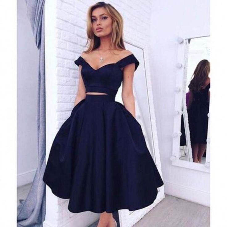 ce2d3082162 Dark blue off the shoulder homecoming dress