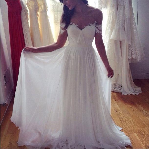 1c3f44945274 White A-line chiffon lace off shoulder prom dresses ,evening dress ...