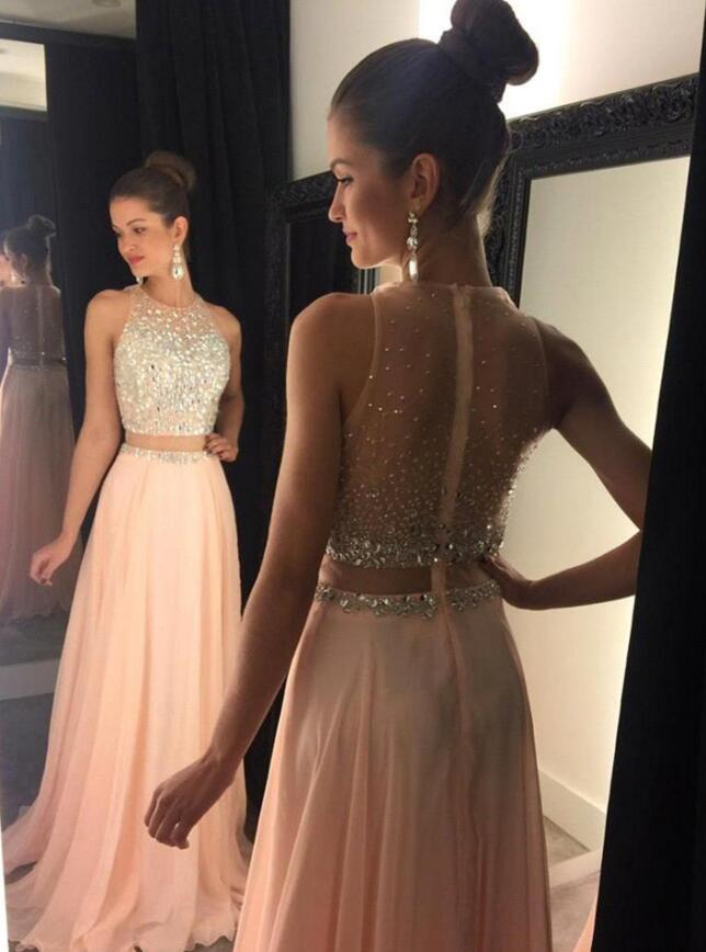 Two Piece Beading Long Prom Dress Wedding Party Dresses Promtailor