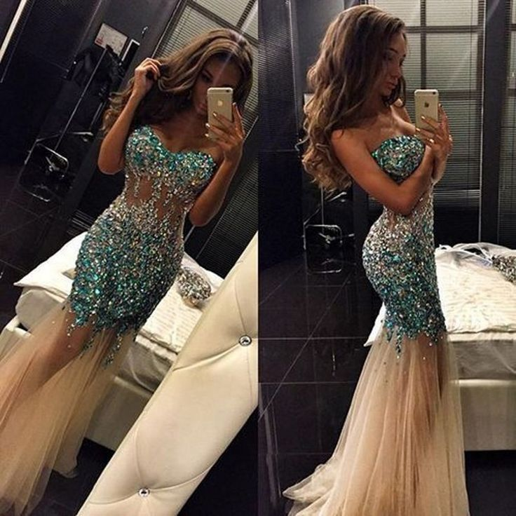 56f241e752 Sparkle champagne tulle mermaid prom dress 2017