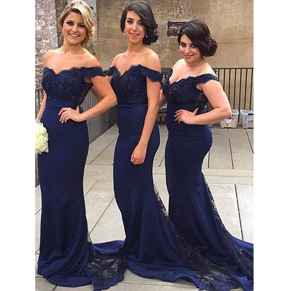 Simple Mermaid Off Shoulder Sequined Lace Long Burgundy Dark Navy Blue Bridesmaid  Dress on Storenvy cfc164bfa