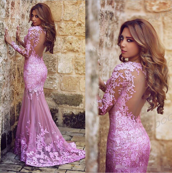 2017 Fashion Long Sexy Light Purple Lace Prom Dress Mermaid Prom Dress Long Sleeves Tulle Prom Dress With Appliques From Herdresses