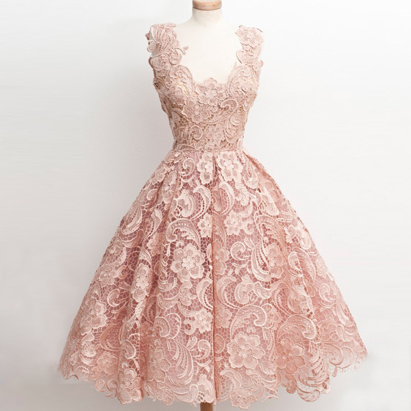 46164f2ca0e Vintage A-Line V-Neck Knee-Length Black Lace Homecoming Dress on Storenvy
