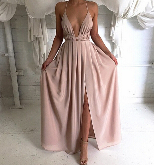 Deep V Neck Long Chiffon Prom Dress Backless Evening Dress Sexy Open ...