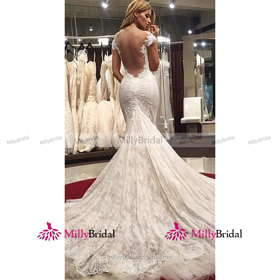 4465d6aecd Sexy Off the Shoulder Trumpet Wedding Dress, Open Back White Lace Wedding  Dress, Fairytale Backless Tulle Watteau Train Wedding Dress, #00022577 from  ...