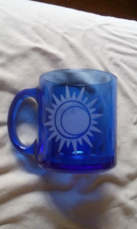 Hail Caffeina Goddess Of The Morning Coffee Mug Blue Glass Ooak From Whyte Raven Studio