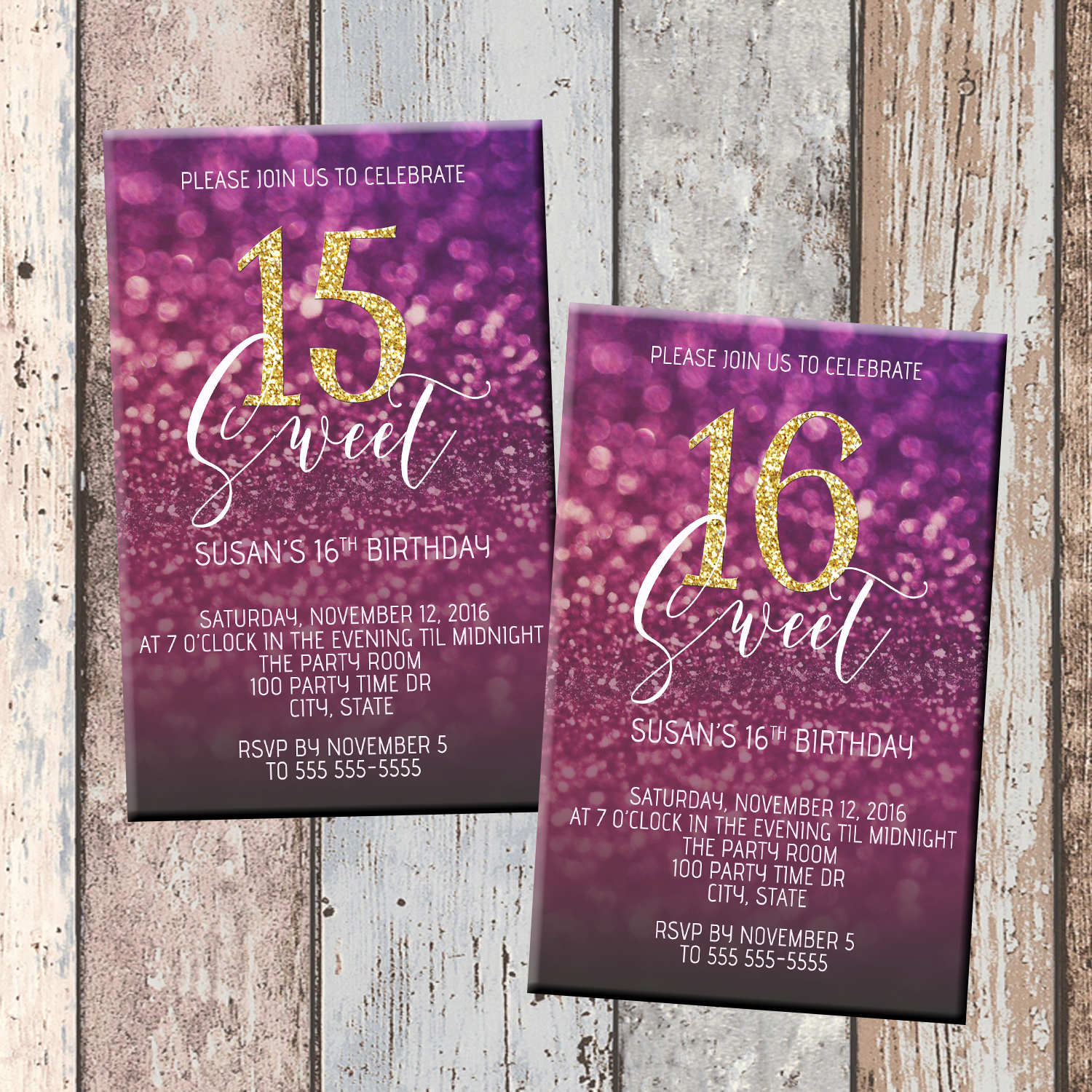 Purple Glitz Quinceanera Or Sweet 16 Personalized Birthday Invitation 1 Sided Card Party