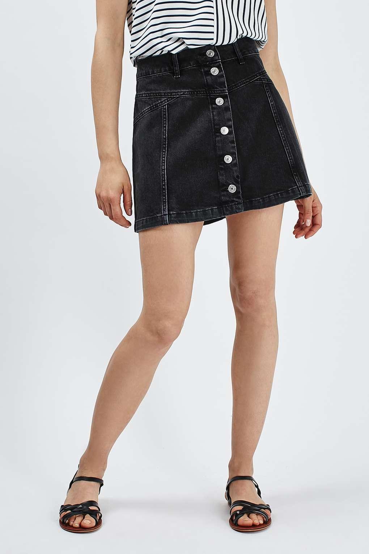 e9d26a67a1 Topshop Black Denim Button Skirt – DACC